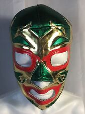DOS CARAS WRESTLING/LUCHADOR MASK green/gold/red.CLASSIC!! VINTAGE!! HANDMADE!!