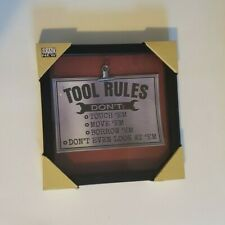 Tool Rules Clipboard Sign in Picture Frame Hardware / garage Glass Message
