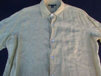 Banana Republic Mens Button Front Short Sleeve Yellow Linen Shirt Medium M
