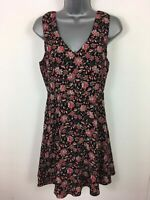 WOMENS FOREVER 21 BLACK RED FLORAL SLEEVELESS V NECK FIT & FLARE DRESS UK SMALL
