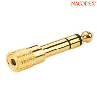 6.35mm 1/4 inch Male to 3.5mm 1/8 inch Female Stereo Audio Adapter Gold Plated