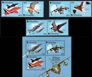 GIBRALTAR 2001 FIGHTER PLANES set + S/S MNH AVIATION, MILITARY