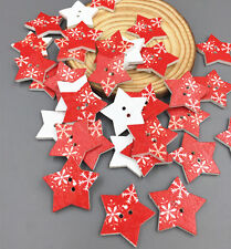 50X Red pentagrams Wooden Buttons Christmas Star Sewing Scrapbooking Crafts 26mm