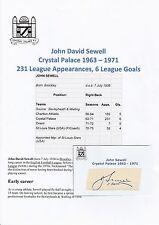 JOHN SEWELL CRYSTAL PALACE 1963-1971 ORIGINAL HAND SIGNED CUTTING/CARD