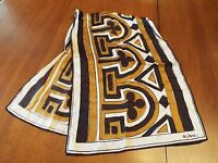 Vintage VERA Brown Geometric Pattern Oblong Scarf