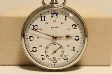 "ART DECO WW2 ERA SWISS OPEN FACE POCKET WATCH""CYMA""WITH BICOLOR PORCELAIN DIAL"