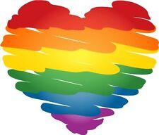 "Color Heart Gay Pride Rainbow Bumper Sticker Decal 5""x 4"" BS-1013"