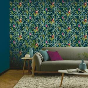Arthouse Deco Tropical Metallic Silver Navy Green Birds Geo Wallpaper 908003