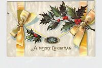 PPC POSTCARD MERRY CHRISTMAS ENVELOPE YELLOW RIBBONS HOLLY EMBOSSED