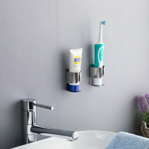 2x Bathroom Electric Toothbrush Holder Organizer Stand Wall Mirror Self Adhesive