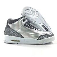 Nike Air Jordan 3 Retro PREM HC Heiress Chrome Silver Grey 5.5Y-6.5Y Women's 7-8