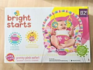 Bright Starts Pretty Pink Safari Bouncer Pretty in Pink Vibrating Bouncer ToyBar