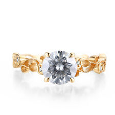 6.5mm Round 0.9ct White Topaz 10K Yellow Gold Vintage Filigree Handcrafted Ring
