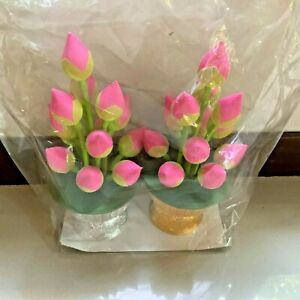 Lotus Bud Bowel Silver Golden Tray Plate Bowl Container Holder Thai Green Pink