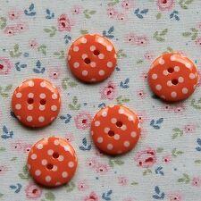 10 Botones Con Lunares Naranja 15 mm