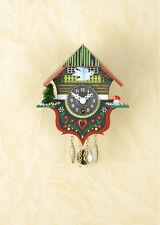 Orologio a pendolo Miniatura Black Forest nera cucù fatto germania 14 PQ