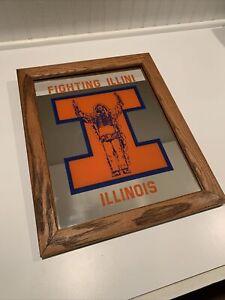 """Vintage University Of Illinois 13""""x16"""" Wood Framed Mirror Fighting Illini Chief"""