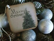 Christmas Gift Tags, Distressed, Rustic, Primitive, Christmas Tree, set of 12