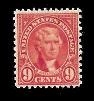 US 1927 Sc# 641  9 c  Jefferson  Mint NH  - Vivid  Color - Centered