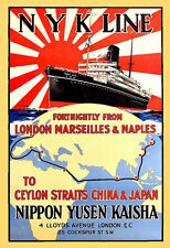 Travel NYK Cruise Line London China Japan Ship Cruise Vacation Poster Print