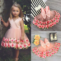 Kids Girls Dress Flower Princess Formal Party Wedding Bridesmaid Prom Size 2-3Y