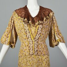 Large 1930s Day Dress Daisy Rayon Lace Collar Balloon Sleeve Jacket Vintage 30s