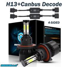 4 Sides H13 9008 LED Headlight Bulbs High Low Beam+Resistor Decorder Error Free