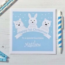 Personalised Babys 1st First Christmas Card Grandson Granddaughter Niece Nephew