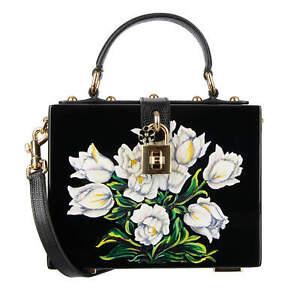 DOLCE & GABBANA Varnished Wood Tulip Clutch Shoulder Bag DOLCE BOX Black 08776