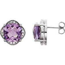 14kt White Checkerboard Amethyst & 1/5 ct. tw. Diamond Earrings