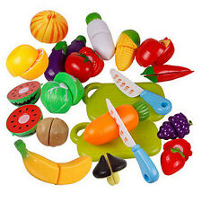 PLASTIC FRUIT VEGETABLE FOOD PRETEND REUSABLE ROLE PLAY TOY CUTTING SET _GG