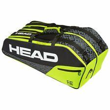 HEAD Core Combi 6 Racquet Bag (Black/Yellow) for Tennis, Squash or Badminton