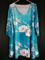 Simply Aster Firmiana Size 2X Lovely Turquoise Pink White Green Tunic/Dress