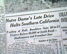BUCKNELL Defeats Penn State Football - NOTRE DAME vs. USC Trojans 1935 Newspaper