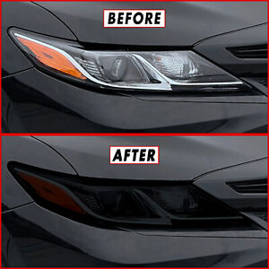 FOR 18-21 Toyota Camry Headlight SMOKE Precut Vinyl Tint Overlays