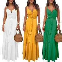 Sleeveless Dresses Evening Boho V Neck Cocktail Maxi Womens Casual Sundress