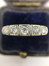 Antique Art Deco 1920's Diamond 5 Stone Square Ring Band 18ct Yellow Gold Plat