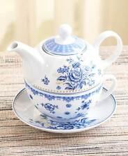 3 Pc. Porcelain Blue Floral Tea For One Tea Pot Cup Saucer Single Serving Gift