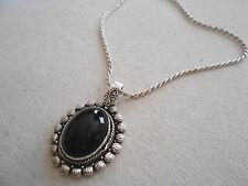 Sterling Silver Oval Black Onyx Pendant Necklace        240520