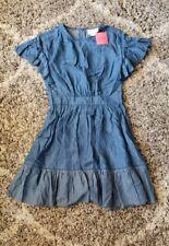 Kate Spade Size 2 Indigo Flutter Sleeve Broom Street Dress Blue Denim