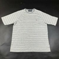 Tommy Hilfiger T Tee Shirt Sweater Mens M Gray White Striped Thick Crew Neck