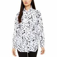 ALFANI NEW Women's Animal Print Tunic Button Down Shirt Top TEDO
