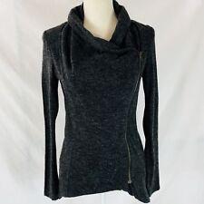 Sweet Rain Gray Asymmetrical Exposed Zip Blouse Long Sleeve Mock Neck Medium