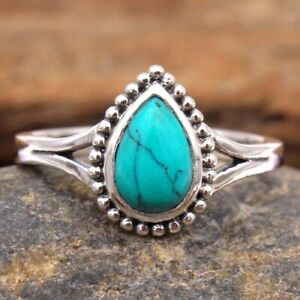 Turquoise Pear Gemstone 925 sterling Silver Jewelry women Ring Size US 8