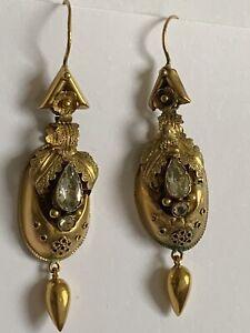 Delightful Victorian 15ct Gold Etruscan & Stone Set Pendant Earrings Circa 1880