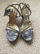 Womens black and white snakeskin heels with diamante jewels size 7