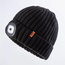 Scruffs LED Beanie Warm Winter Work Site Knitted Hat Rechargeable LED Headlight