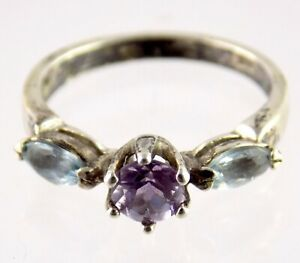 Shube Sterling Silver Round Cut Amethyst Double Blue Topaz Ring 925 Size 6.75