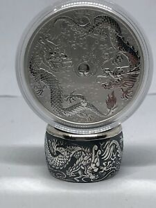 Coin Ring hand made Morgan Silver Australia Dollar 1oz Double Dragon Size 7-18