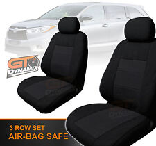 Custom Made Black Seat Covers to Suit Toyota Kluger F+M+R 03/2014 to 2018 GSU50R